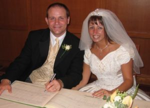 Michelle Author of Time and Pence with my husband on our wedding day